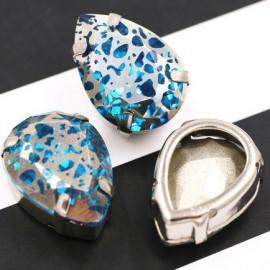 Капли Blue в серебристой цапе 10x14
