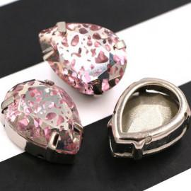 Капли Pink в серебристой цапе 10x14