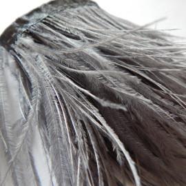 Страусиные перья на ленте Серые 8-11 см