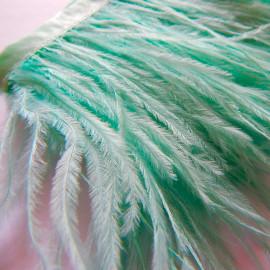 Страусиные перья на ленте Аква 8-11 см