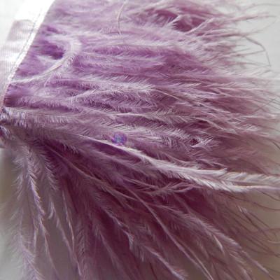 Страусиные перья на ленте Сирень 8-11 см