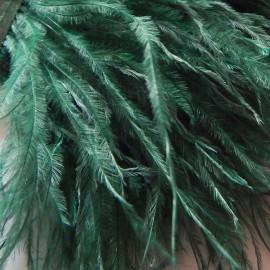 Страусиные перья на ленте Темно-зеленые 8-11 см