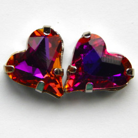 Сердце Purple blue light 12x13 mm