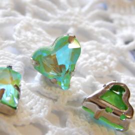 Сердце Флуоресцентное Olive 12x13 mm