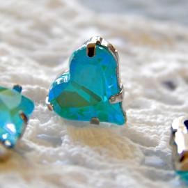 Сердце Флуоресцентное Sea blue 12x13 mm